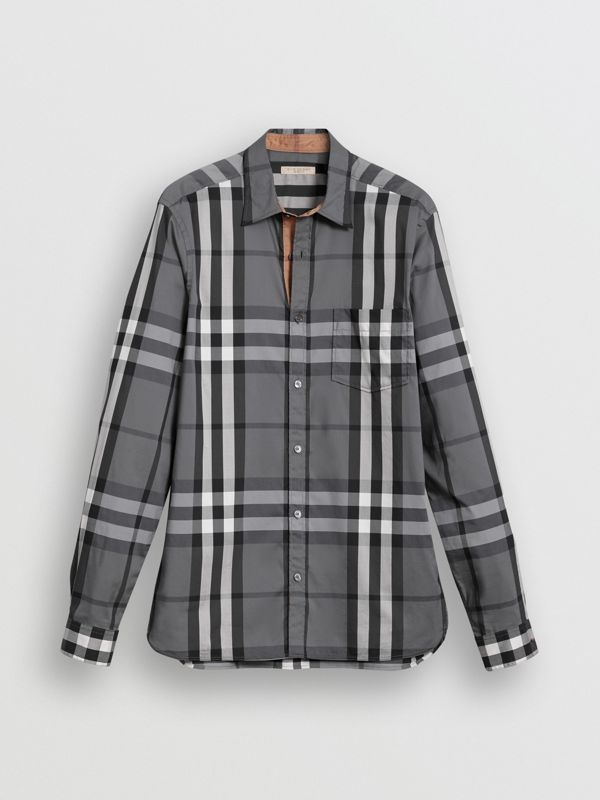 Check Stretch Cotton Shirt in Charcoal - Men | Burberry United Kingdom - cell image 3