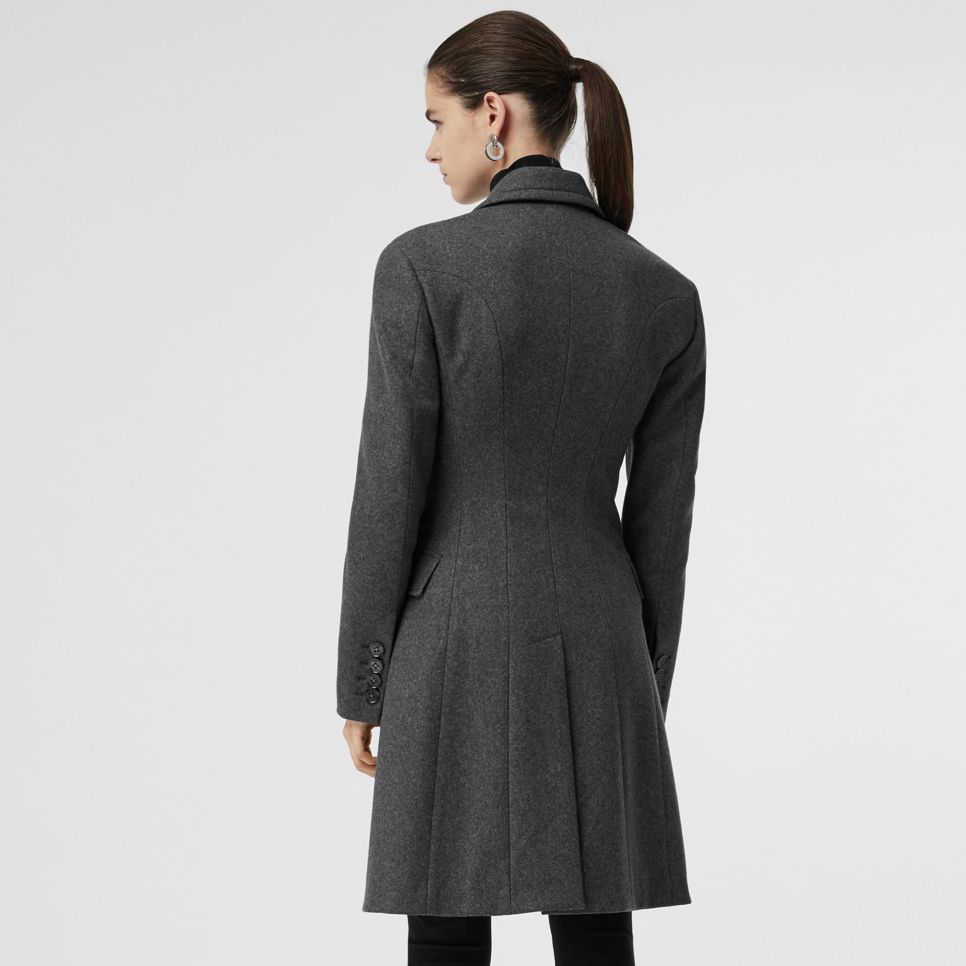 Double-breasted Wool Tailored Coat in Mid Grey Melange - Women | Burberry Singapore - gallery image 2