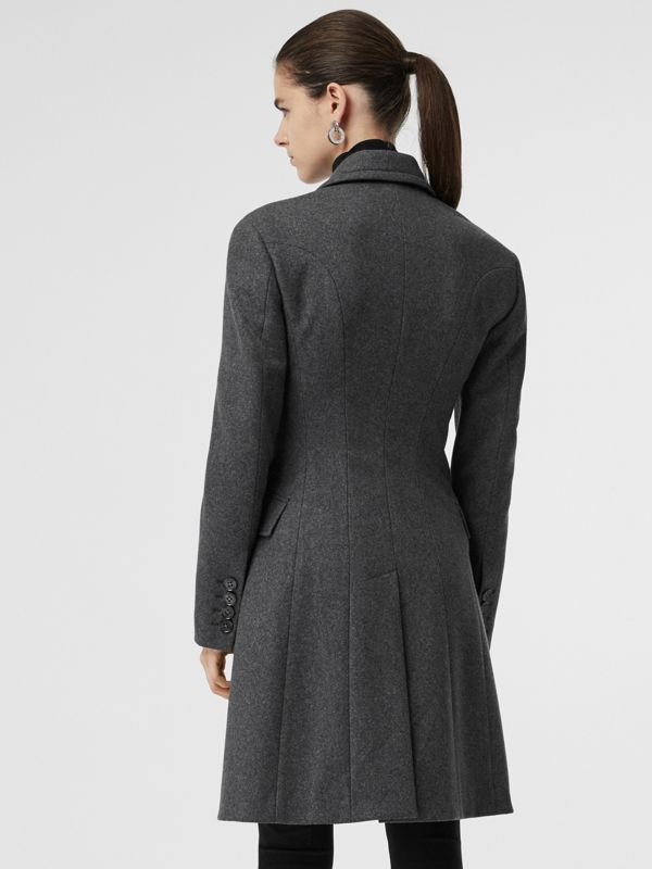 Double-breasted Wool Tailored Coat in Mid Grey Melange - Women | Burberry - cell image 2