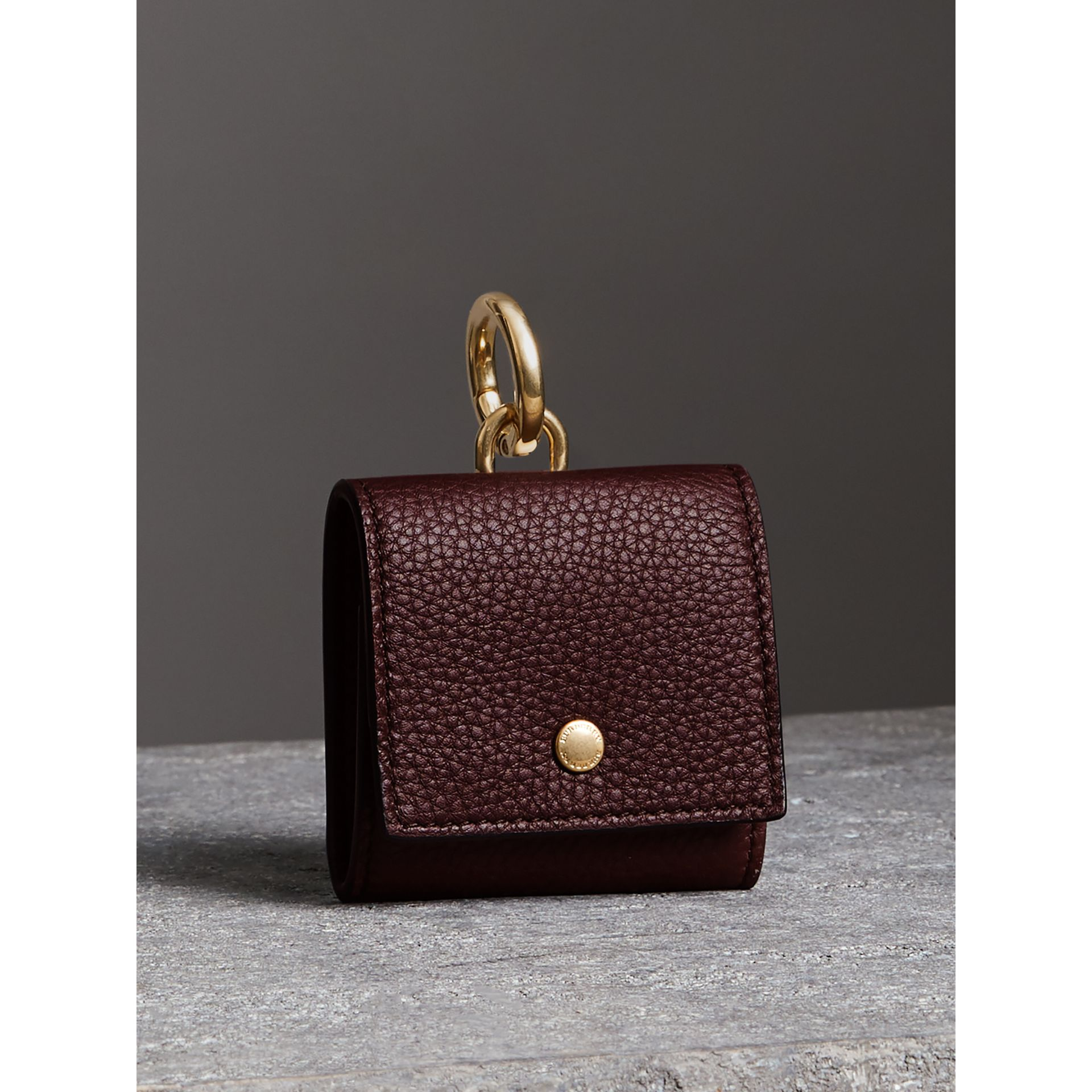 Small Square Leather Coin Case Charm in Deep Claret/limestone - Women | Burberry - gallery image 4