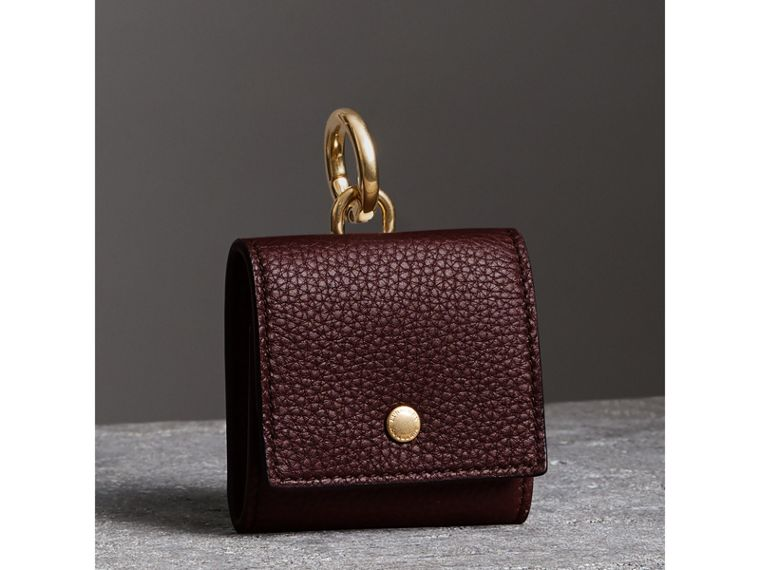 Small Square Leather Coin Case Charm in Deep Claret/limestone - Women | Burberry United Kingdom - cell image 4