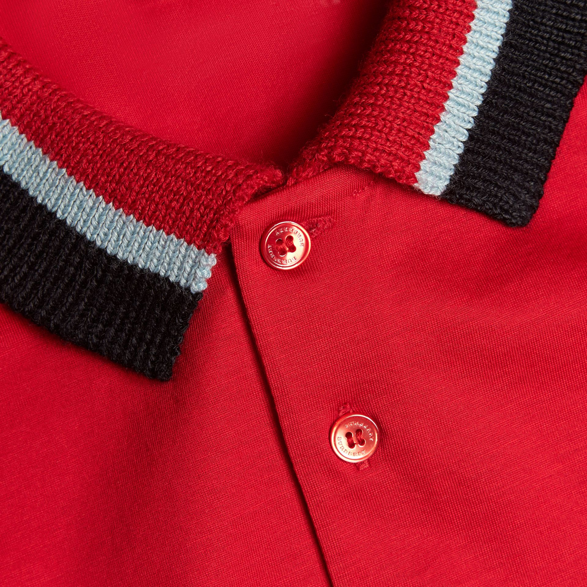 Cotton Polo Shirt with Knitted Collar Military Red - gallery image 2