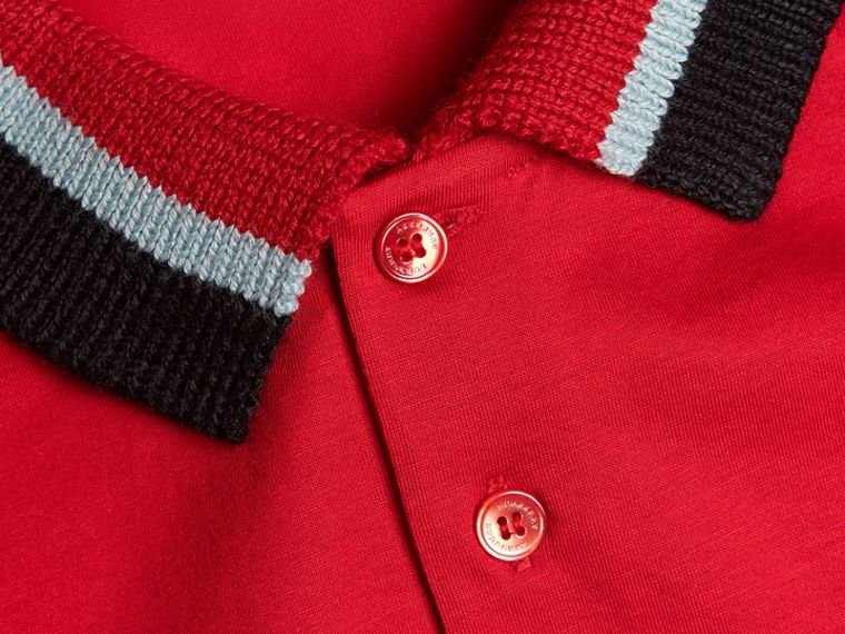 Cotton Polo Shirt with Knitted Collar in Military Red - Men | Burberry - cell image 1