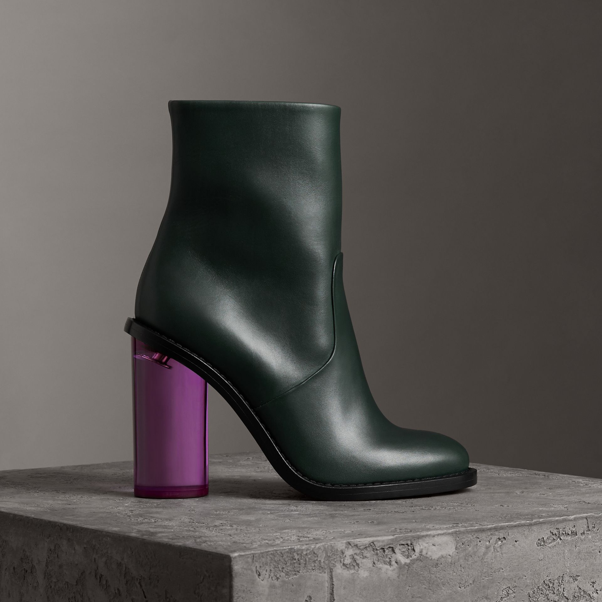 Two-tone Leather High Block-heel Boots in Dark Forest Green - Women | Burberry United Kingdom - gallery image 0