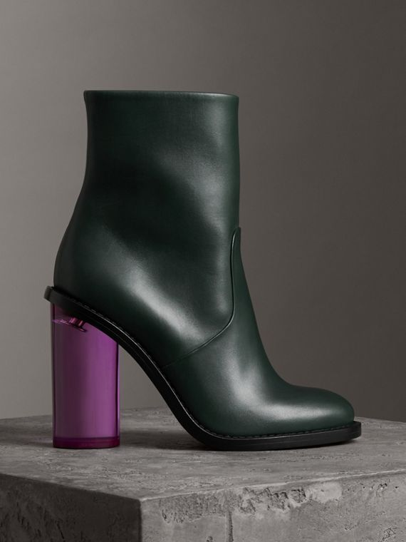Two-tone Leather High Block-heel Boots in Dark Forest Green