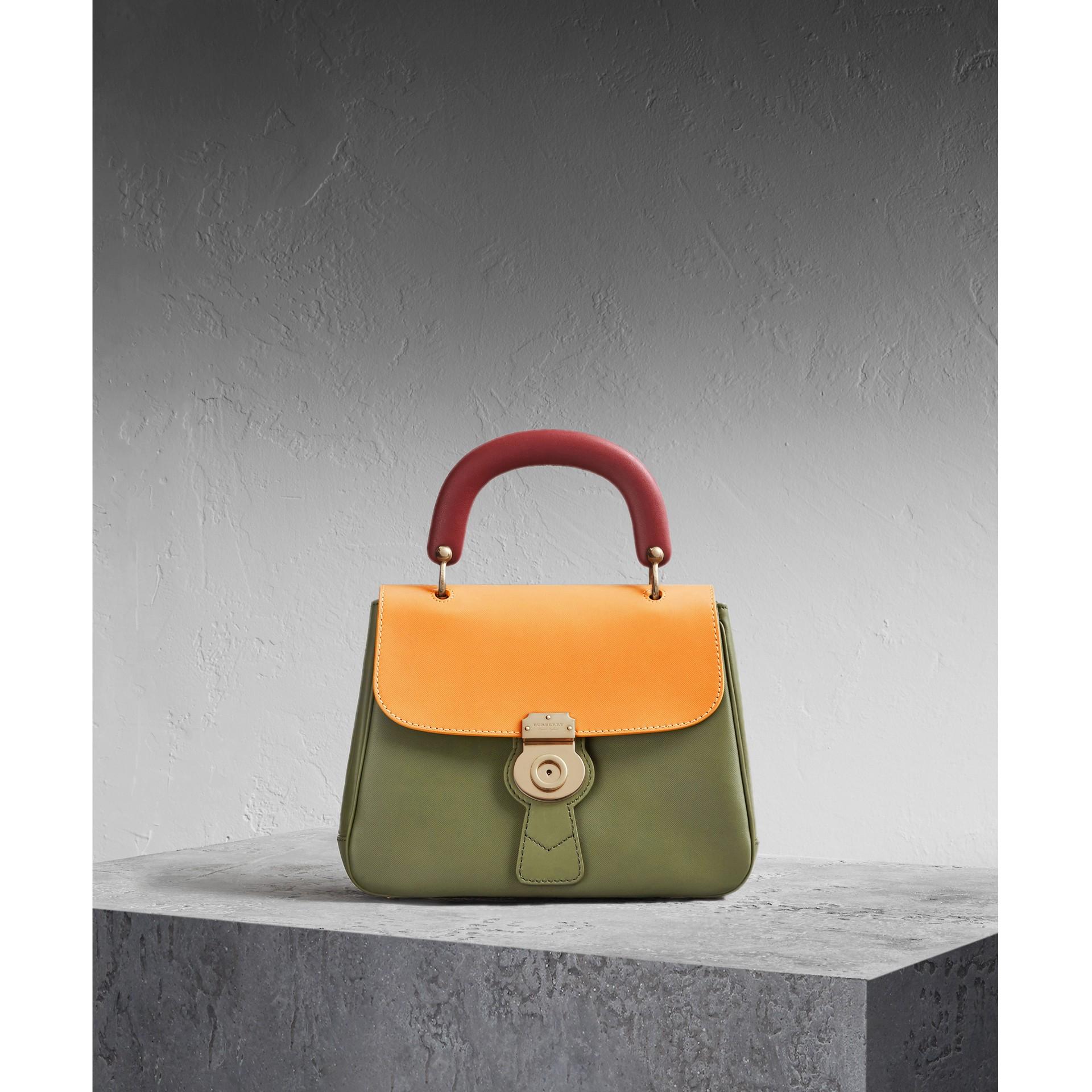 The Medium DK88 Top Handle Bag Moss Green/ochre Yellow - gallery image 1