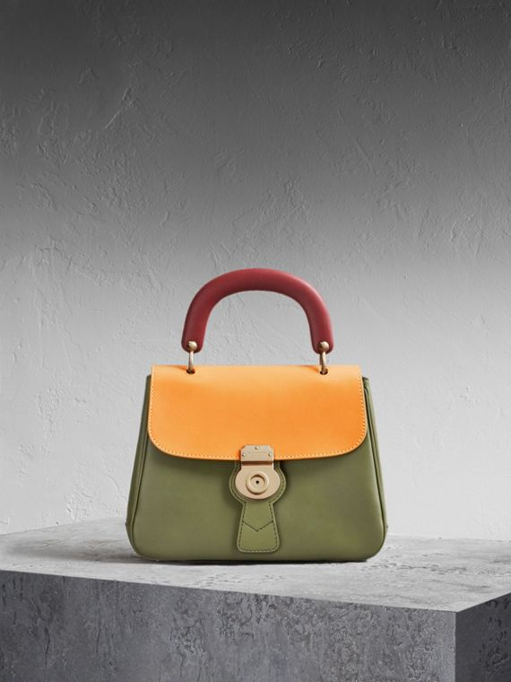 The Medium DK88 Top Handle Bag Moss Green/ochre Yellow