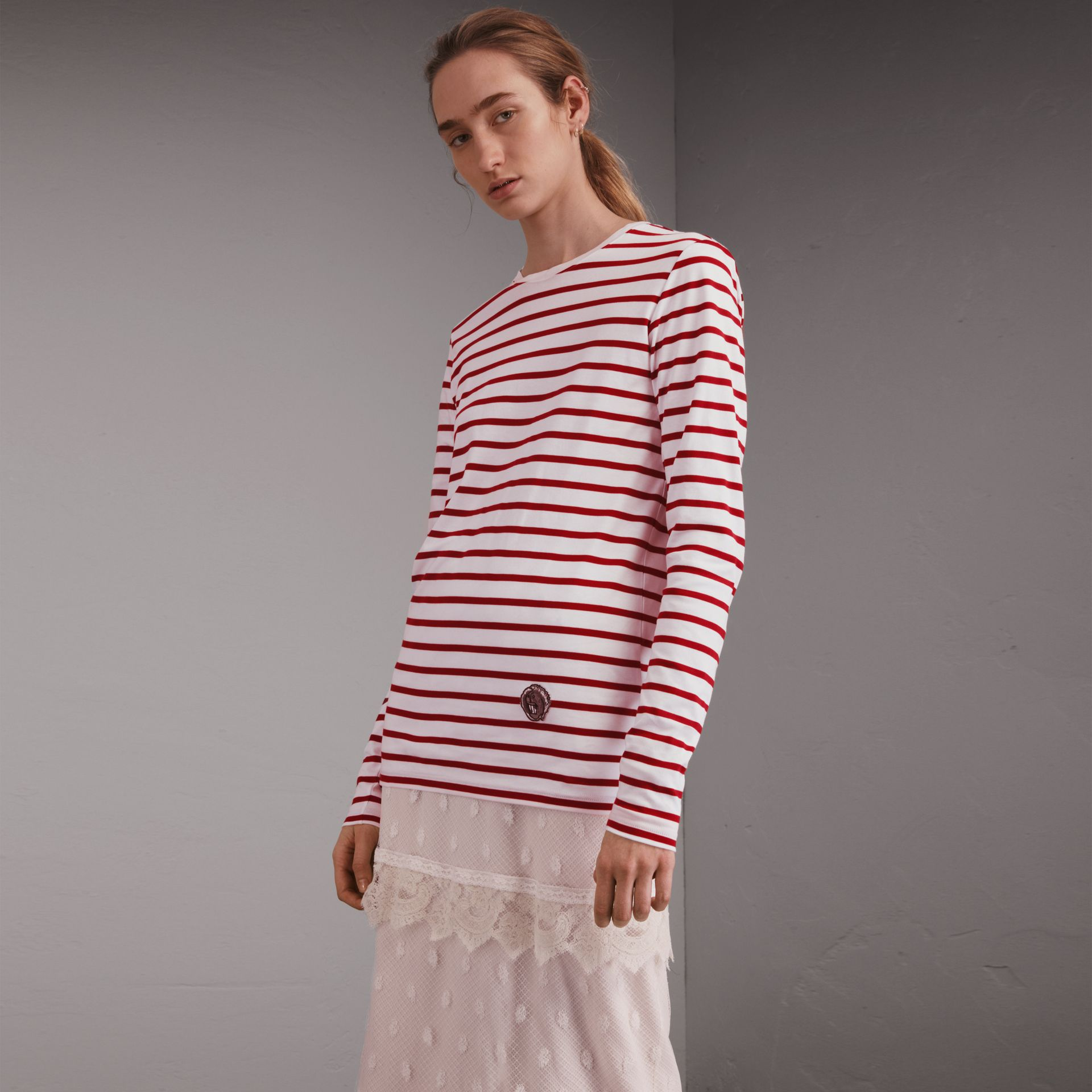 Unisex Pallas Heads Motif Breton Stripe Cotton Top - gallery image 1