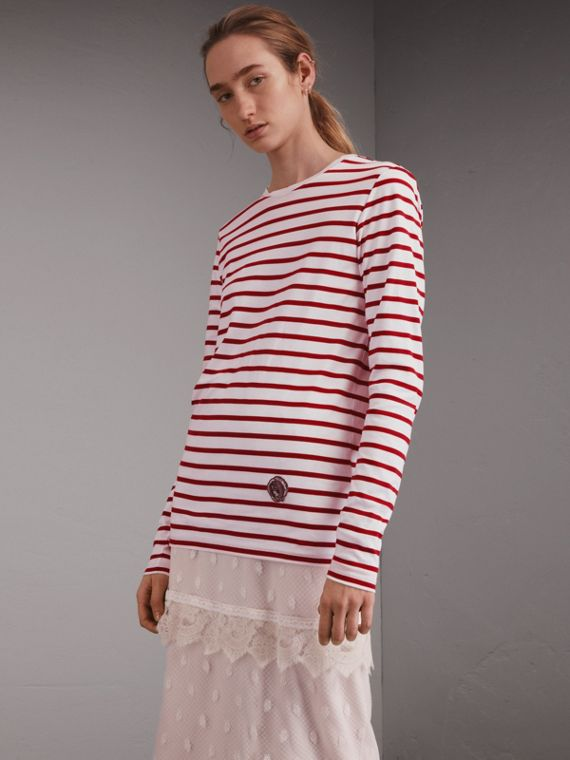 Top unisex in cotone a righe breton con motivo Pallas Heads
