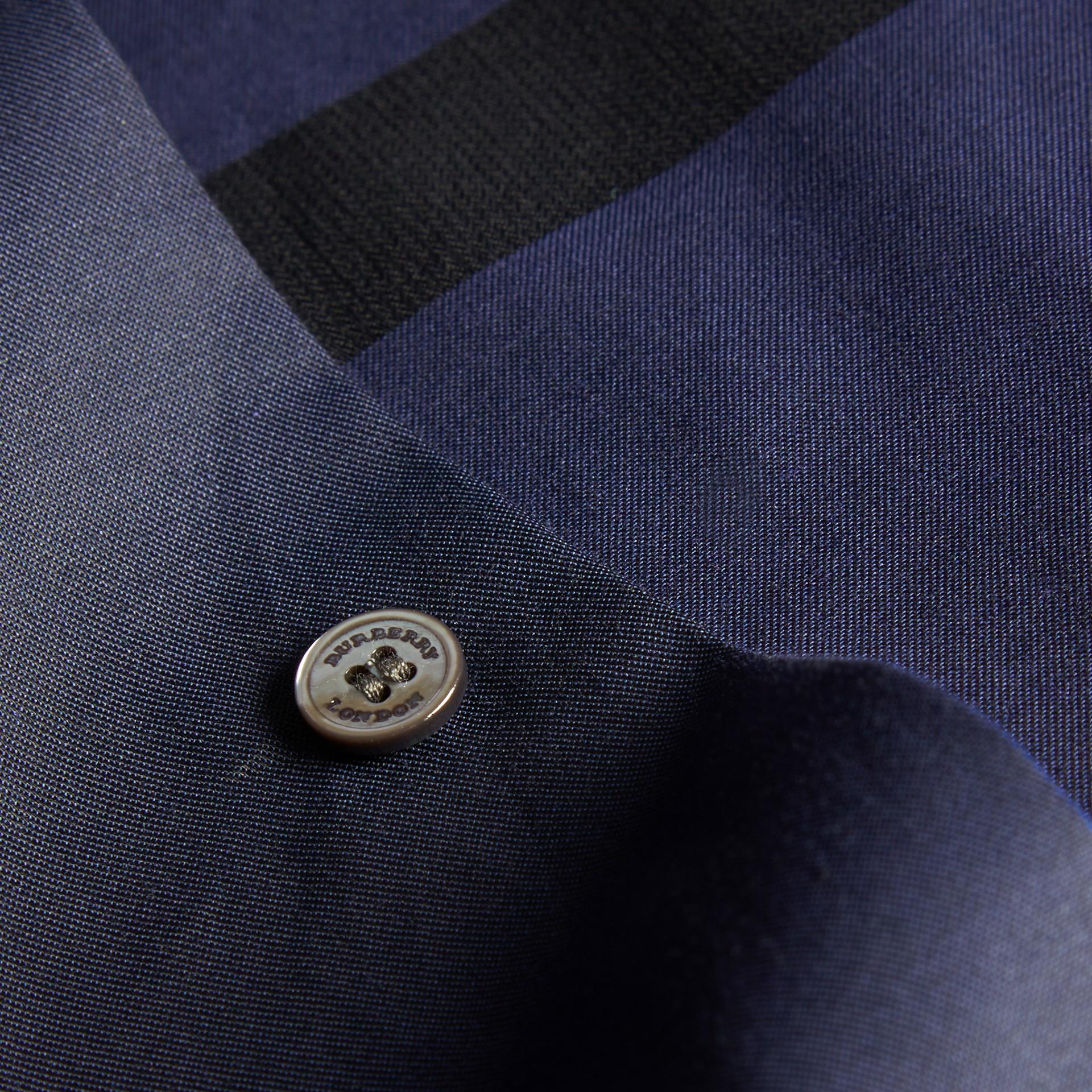 Azul marino Camisa en algodón con estampado de checks Azul Marino - imagen de la galería 2