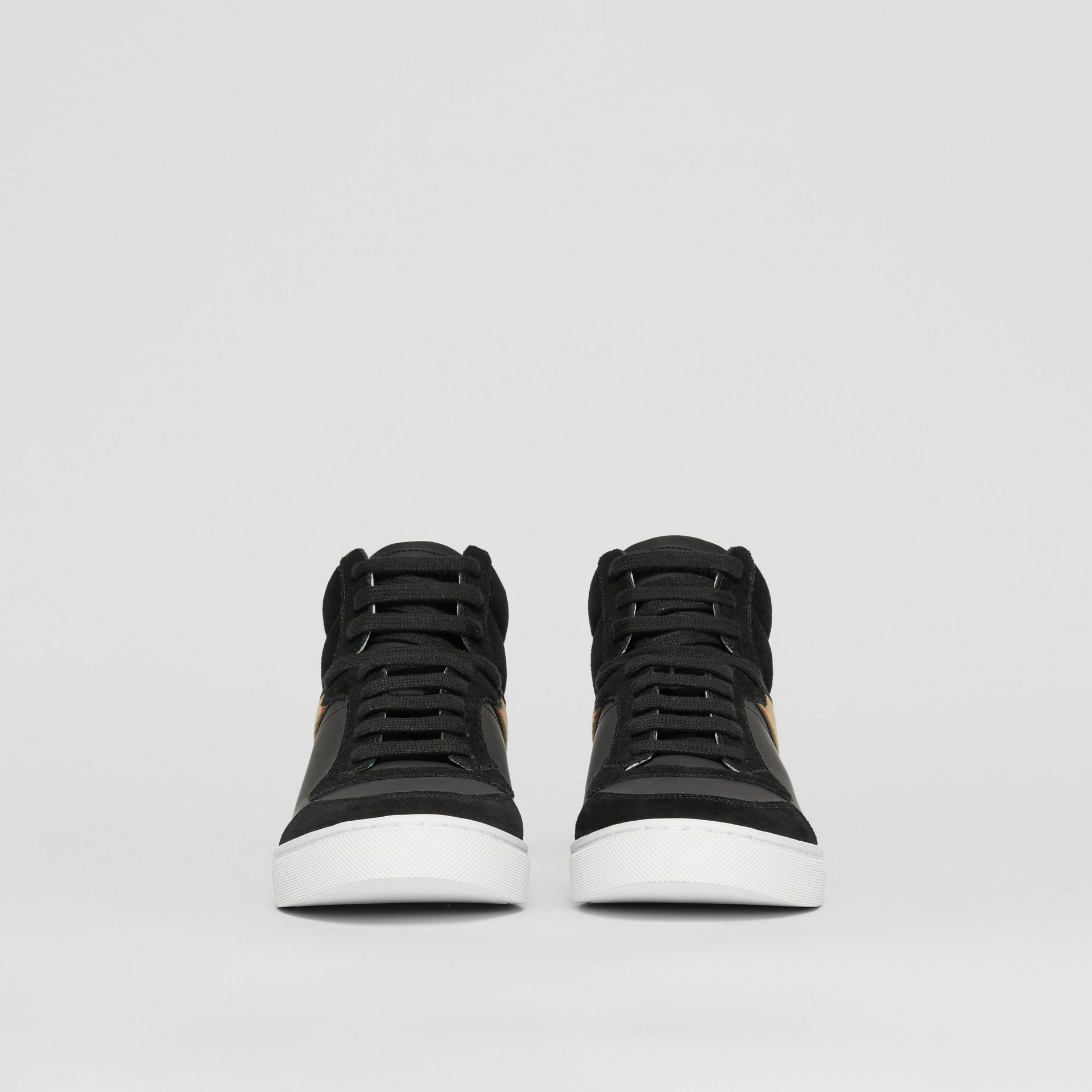 Leather, Suede and House Check High-top Sneakers in Black - Men | Burberry United States - gallery image 2