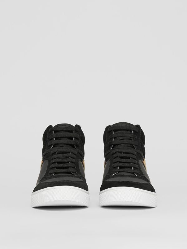 Leather, Suede and House Check High-top Sneakers in Black - Men | Burberry United States - cell image 2