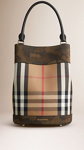 The Bucket Bag in House Check and Camouflage Print