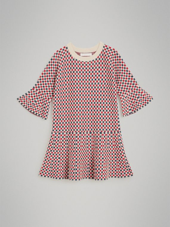 Chequered Cashmere Lurex Blend Dress in Multicolour
