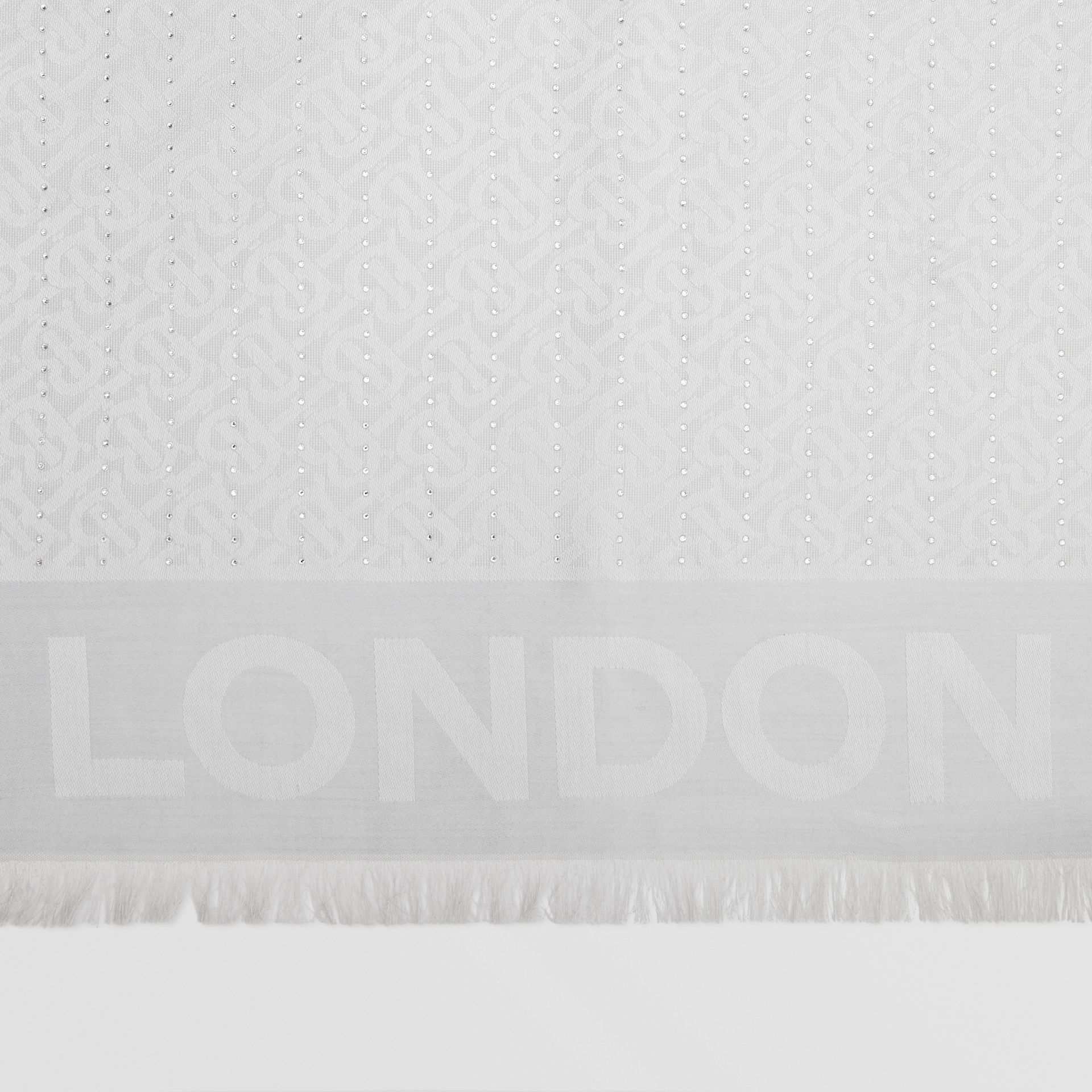 Crystal Pinstriped Silk Wool Large Square Scarf in Light Pebble Grey - Women | Burberry United Kingdom - gallery image 1