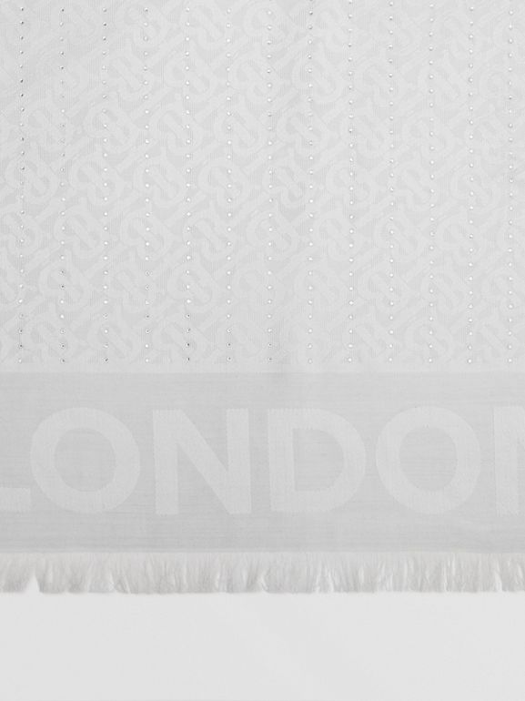 Crystal Pinstriped Silk Wool Large Square Scarf in Light Pebble Grey - Women | Burberry United Kingdom - cell image 1