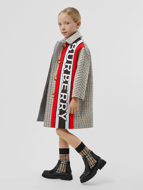 Logo Panel Houndstooth Check Wool Coat in Rust Brown | Burberry - cell image 2