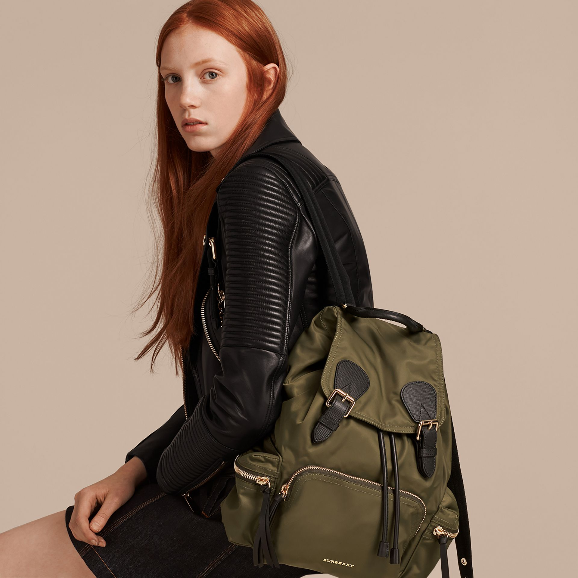 The Medium Rucksack in Technical Nylon and Leather in Canvas Green - gallery image 3