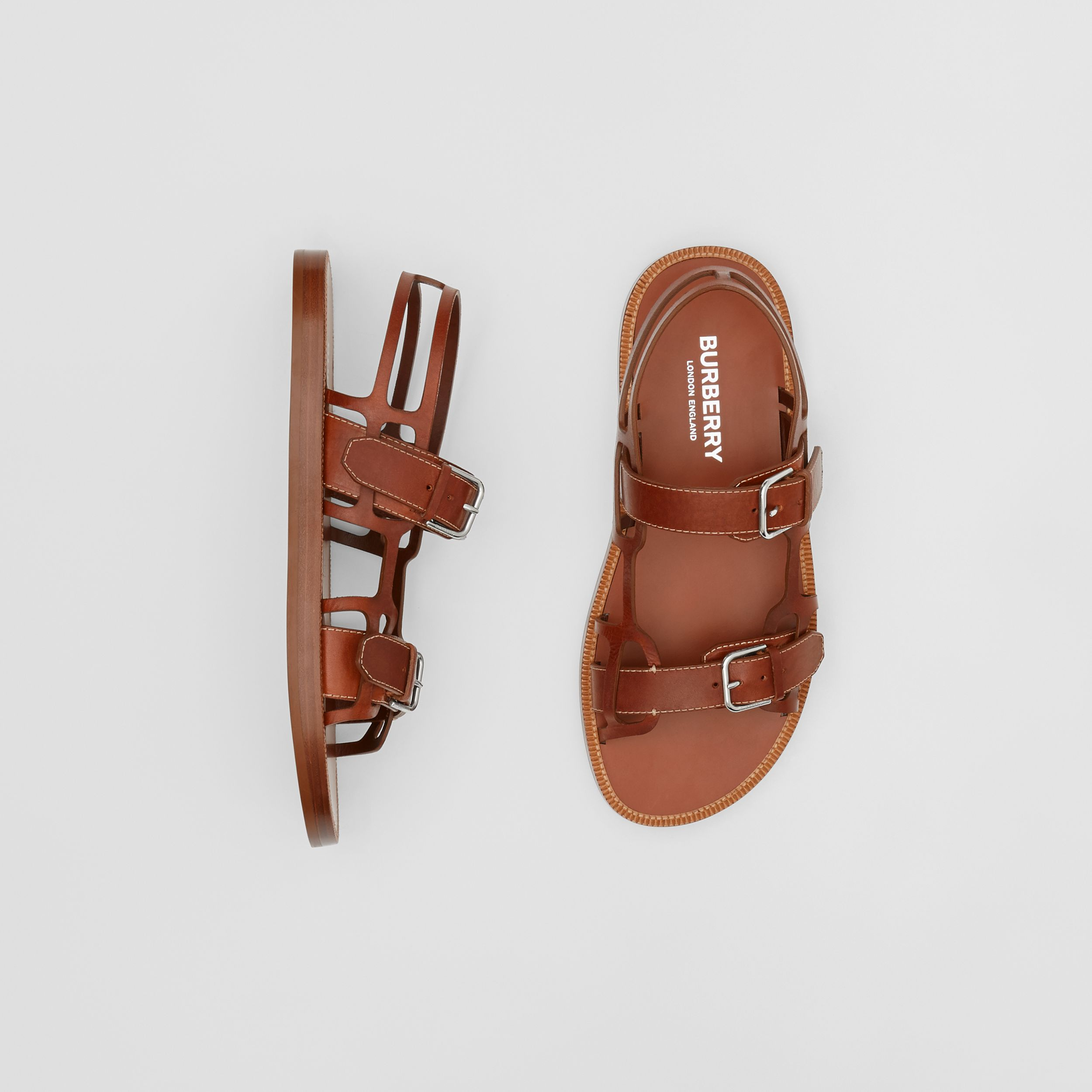 Leather Webb Sandals in Tan - Men | Burberry - 1