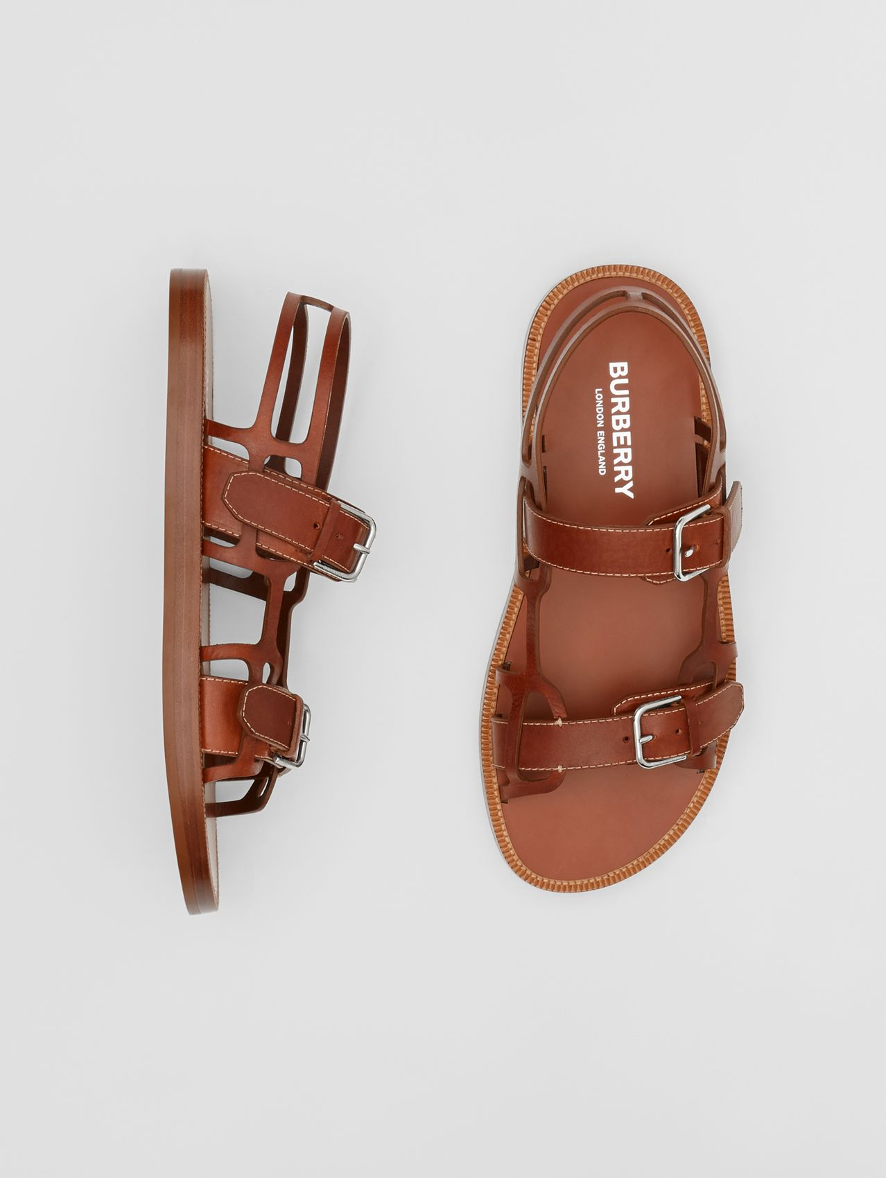 Leather Webb Sandals in Tan