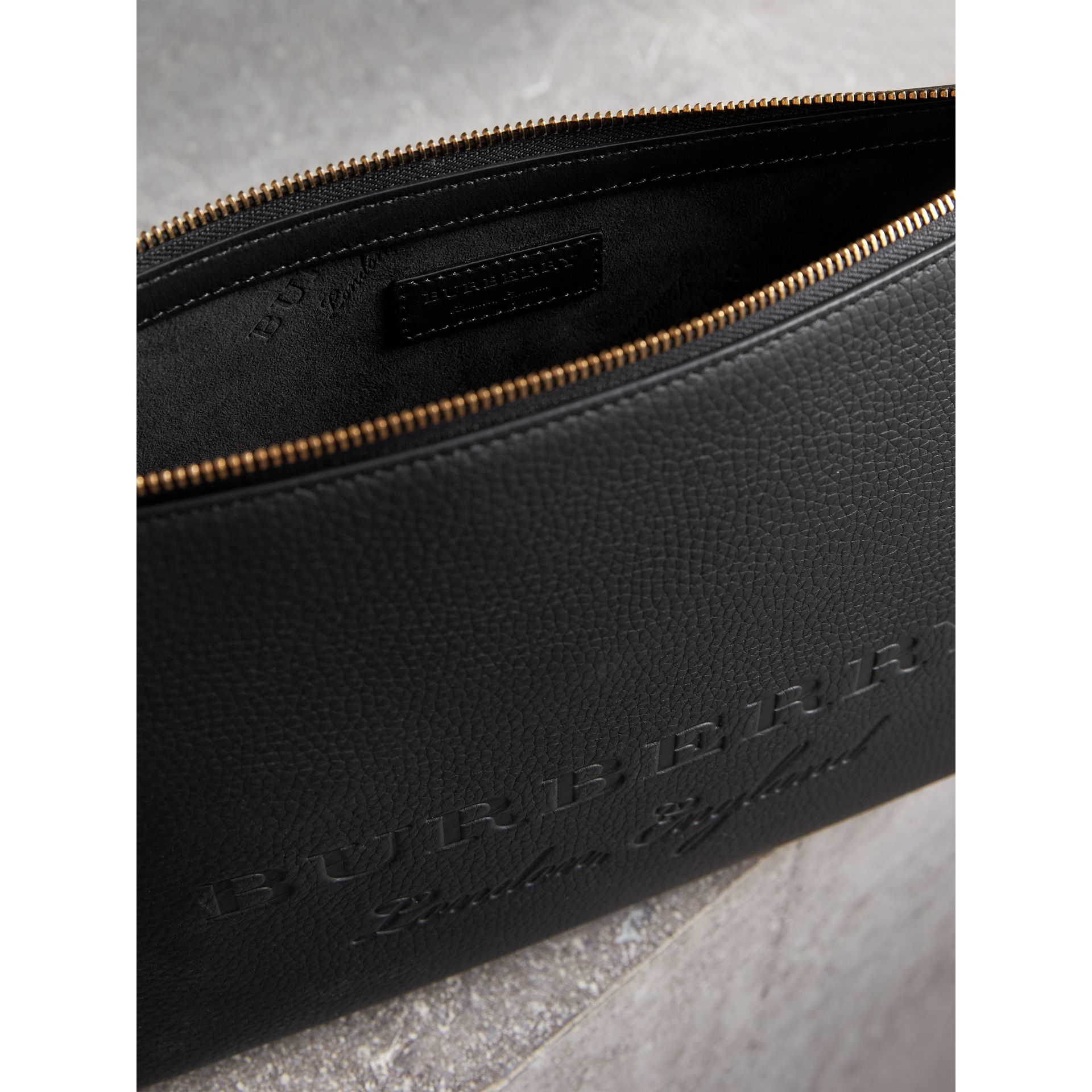 Large Embossed Leather Zip Pouch in Black | Burberry Australia - gallery image 3