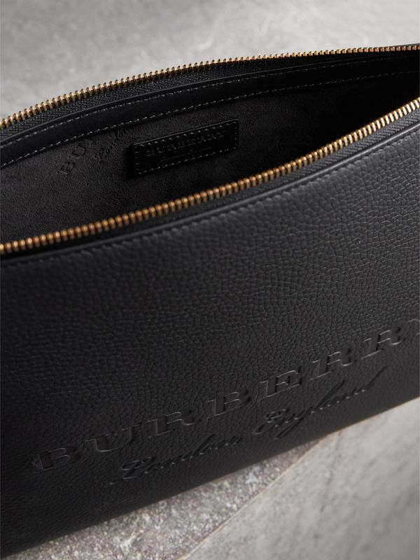 Large Embossed Leather Zip Pouch in Black | Burberry Australia - cell image 3