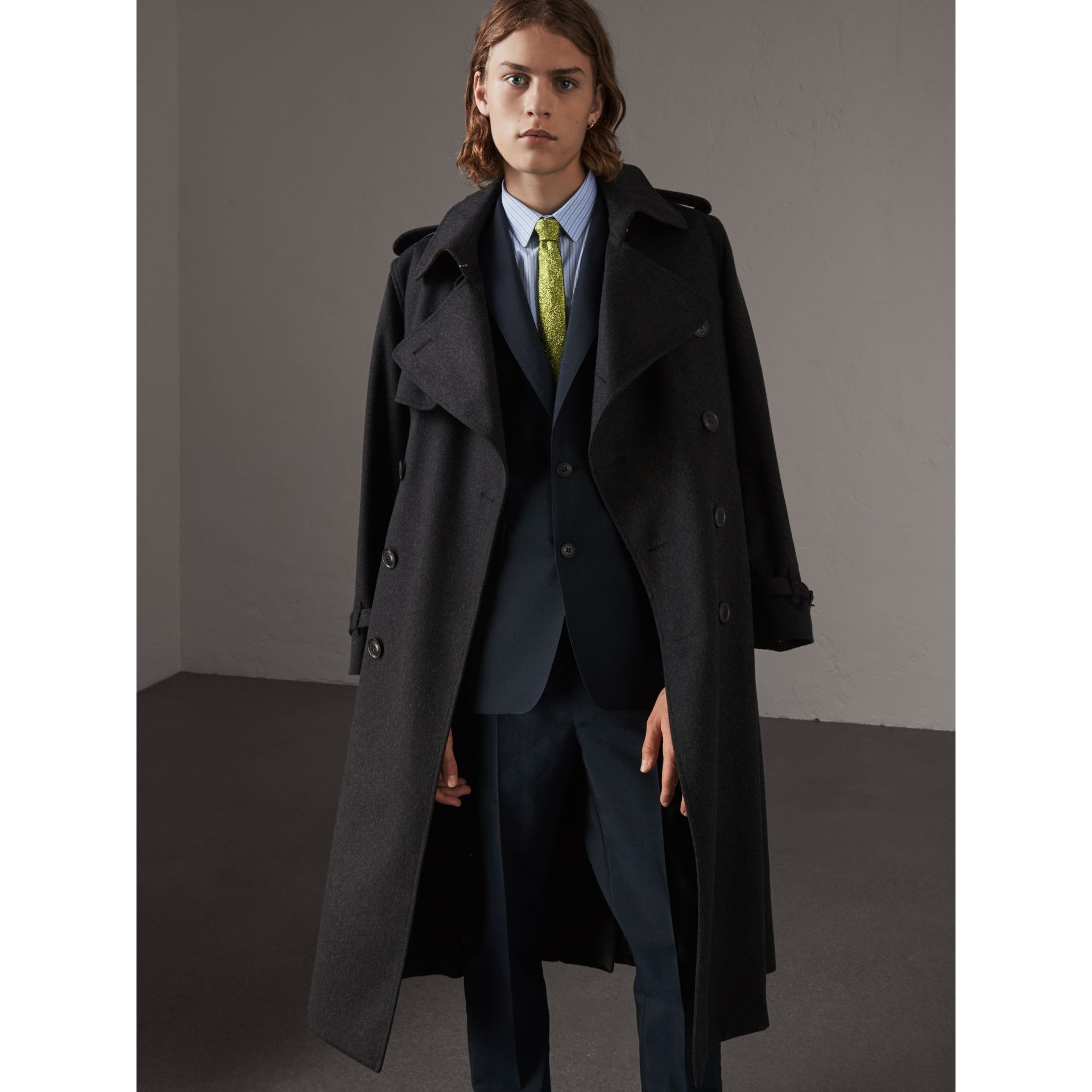 Cashmere Trench Coat in Charcoal Melange - Men | Burberry Hong Kong - gallery image 1