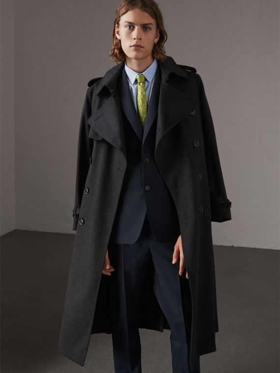 Cashmere Trench Coat in Charcoal Melange