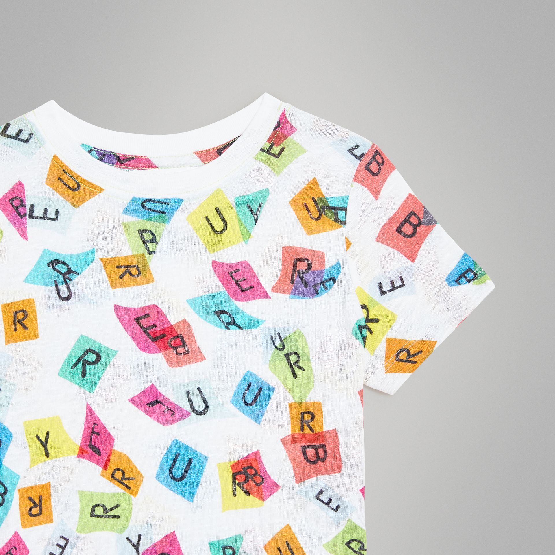 Confetti Letter Print Jersey T-shirt in White - Children | Burberry - gallery image 4