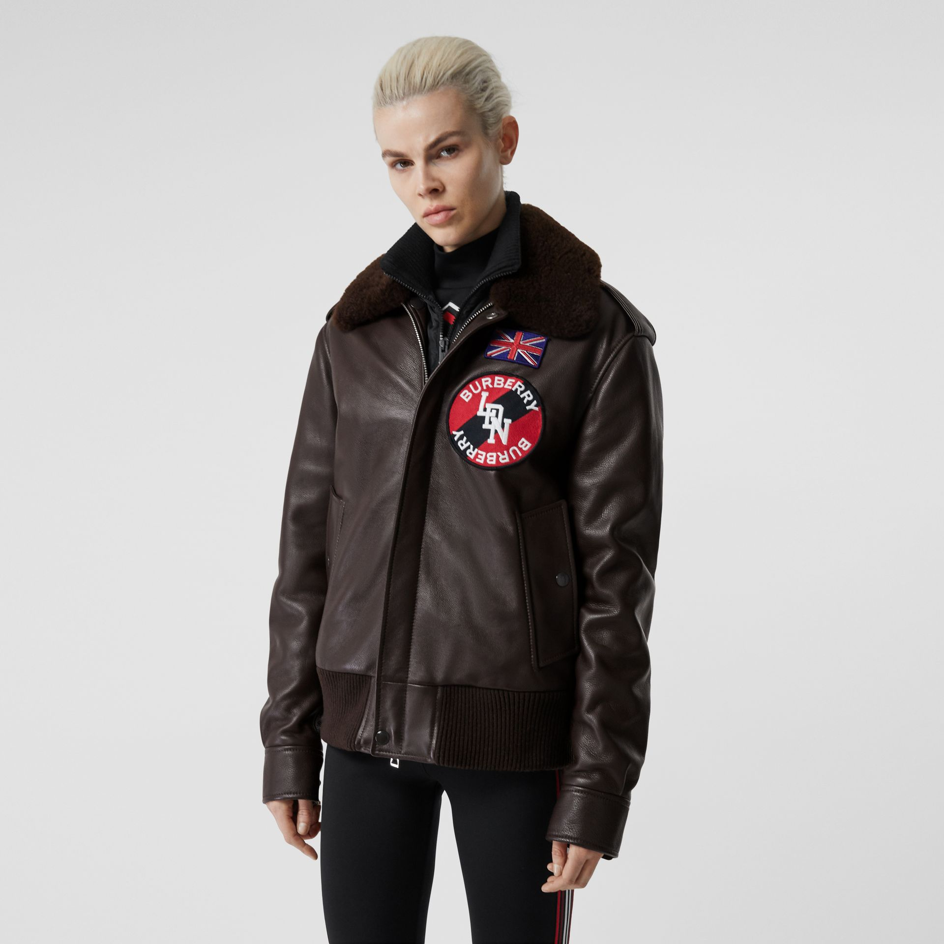 Detachable Shearling Collar Flight Jacket with Warmer in Dark Brown - Women | Burberry Hong Kong S.A.R - gallery image 6