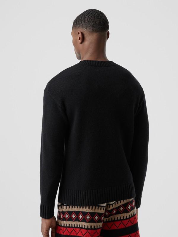 Slogan Intarsia Cashmere Sweater in Black - Men | Burberry - cell image 2