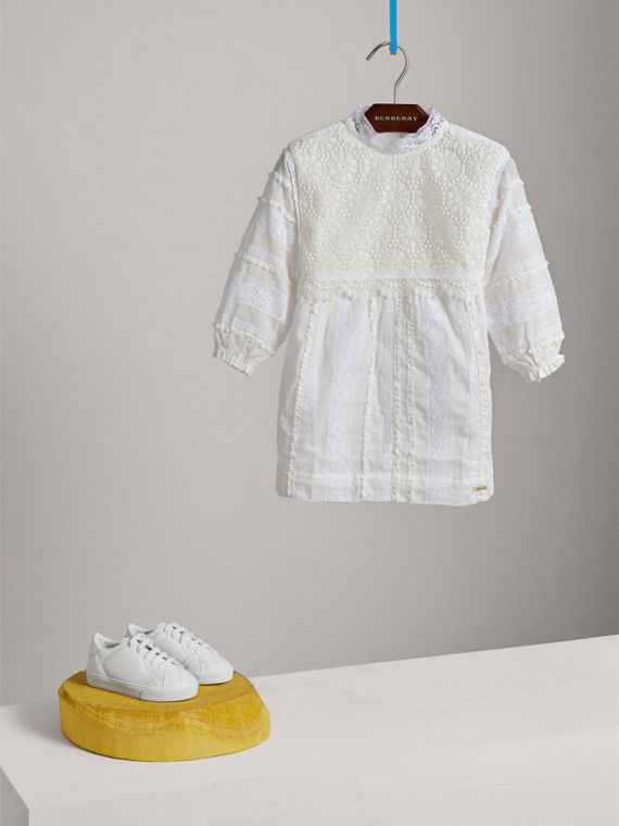 English Lace Detail Cotton High-neck Dress in Natural White - Girl | Burberry - cell image 2