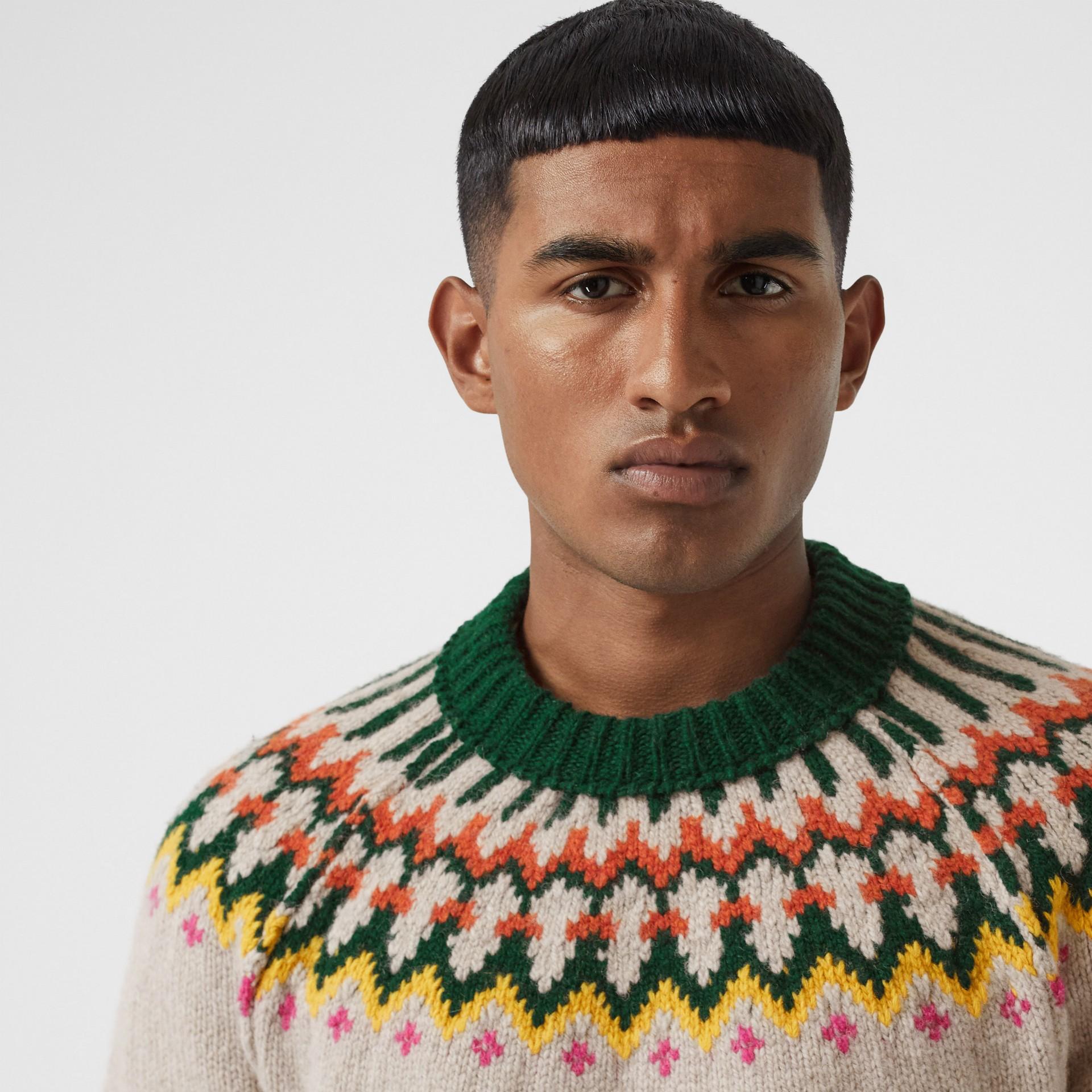 Fair Isle Wool Sweater in Sesame - Men | Burberry - gallery image 5