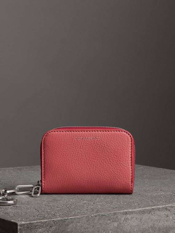 Link Detail Leather Ziparound Wallet in Bright Coral Pink