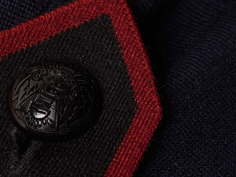 Navy/red Epaulette Detail Wool Polo Shirt - cell image 1