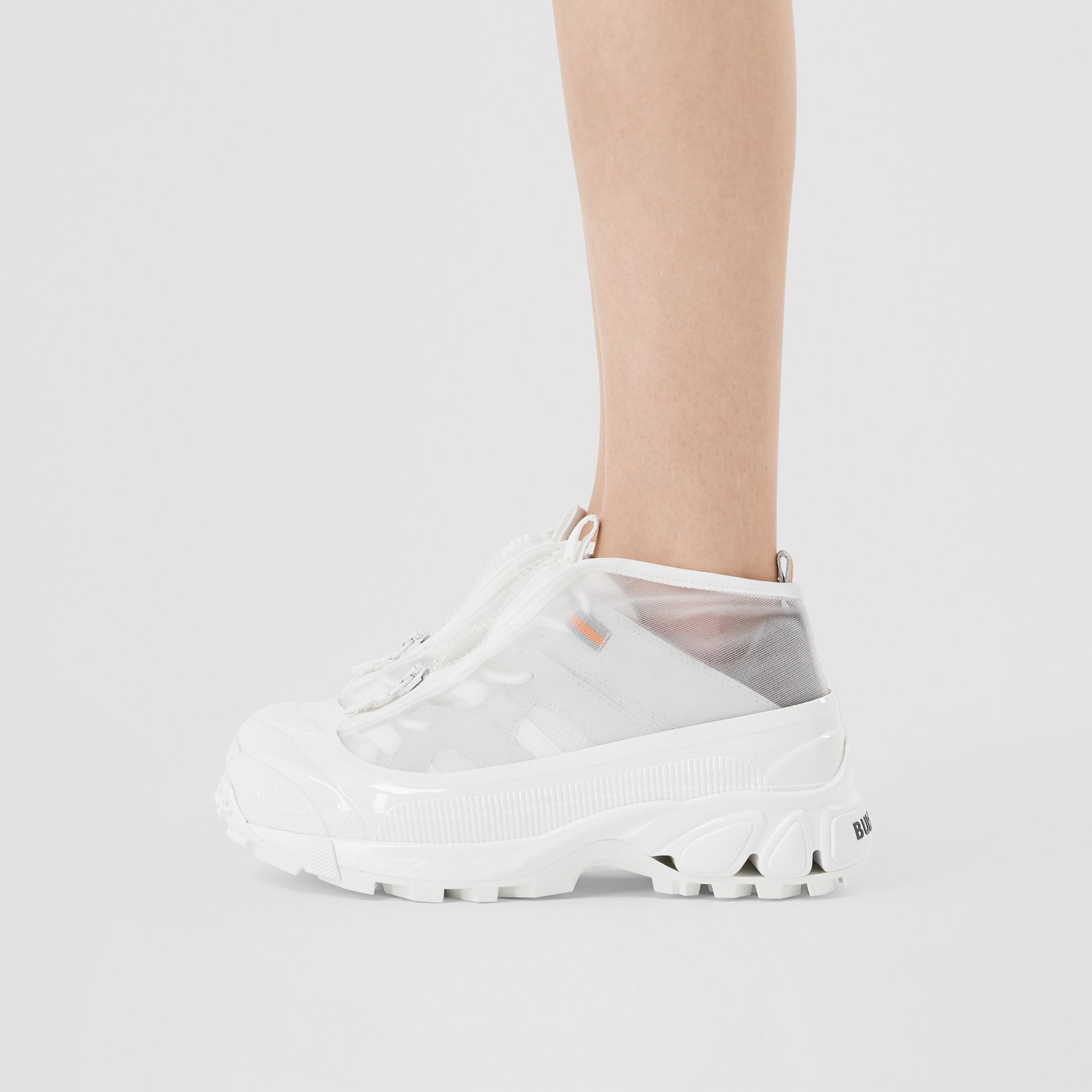 Nylon and Suede Arthur Sneakers in White - Women   Burberry United States - gallery image 2