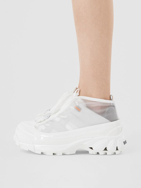 Nylon and Suede Arthur Sneakers in White - Women   Burberry United States - cell image 2