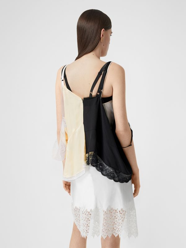 Lace Trim Silk Satin Reconstructed Camisole in Buttermilk - Women | Burberry - cell image 2