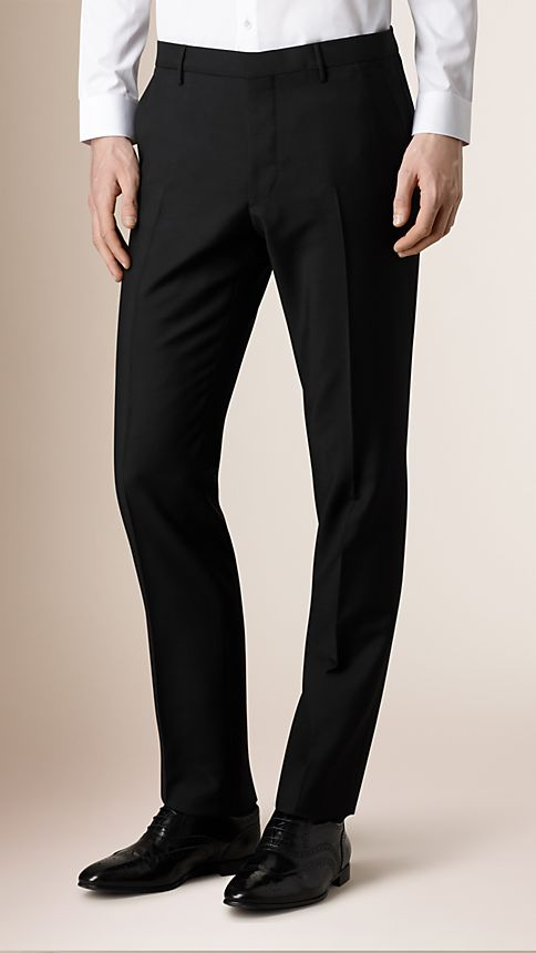 Black Modern Fit Wool Mohair Trousers - Image 1