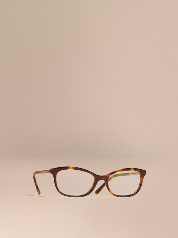 Monture ovale pour lunettes de vue avec détails check Brun Roux Clair