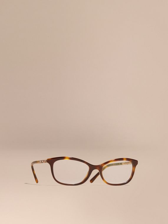 Gafas de ver de montura ovalada con detalle de checks Marrón Teja Claro