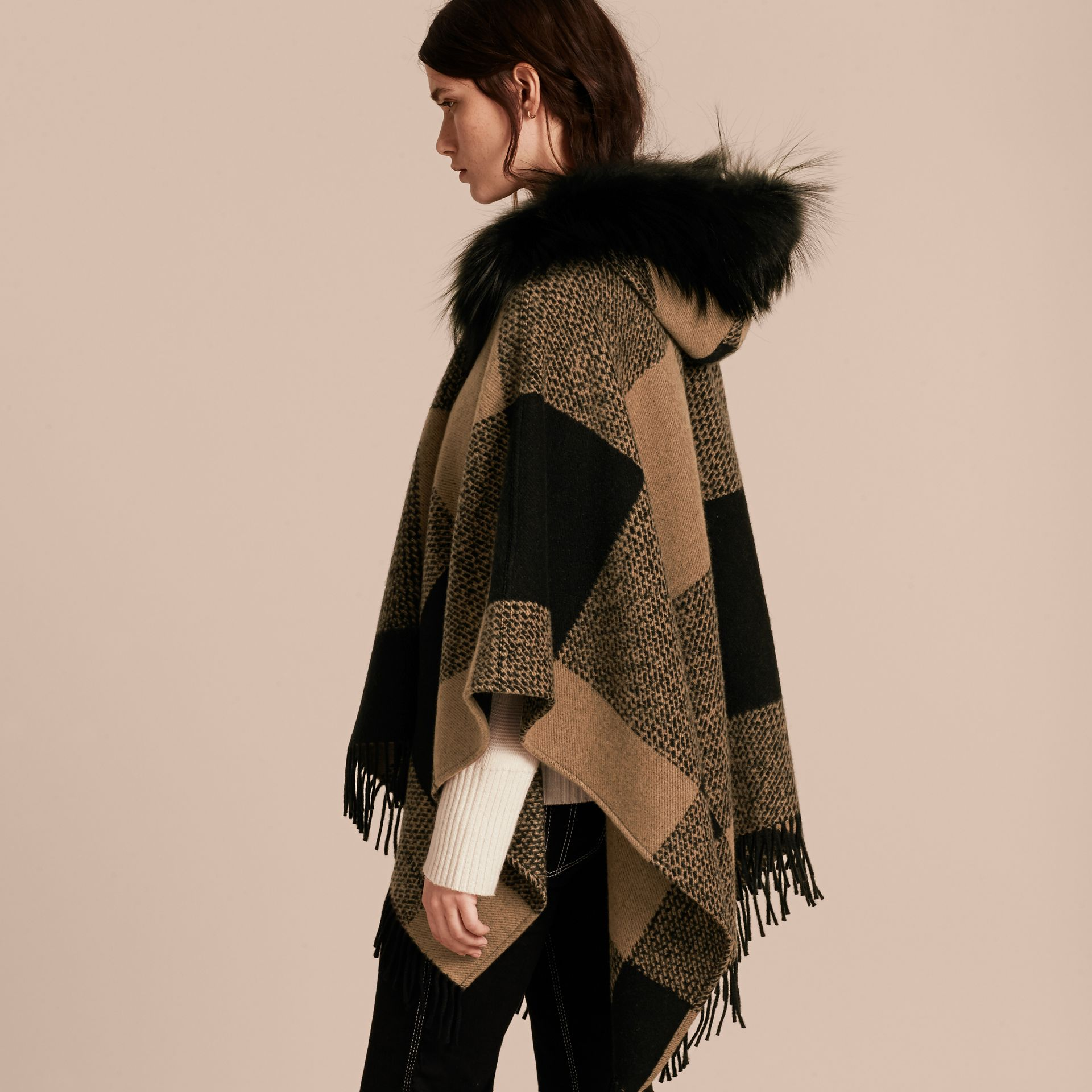 Camel Fur-trimmed Buffalo Check Wool Cashmere Poncho Camel - gallery image 3