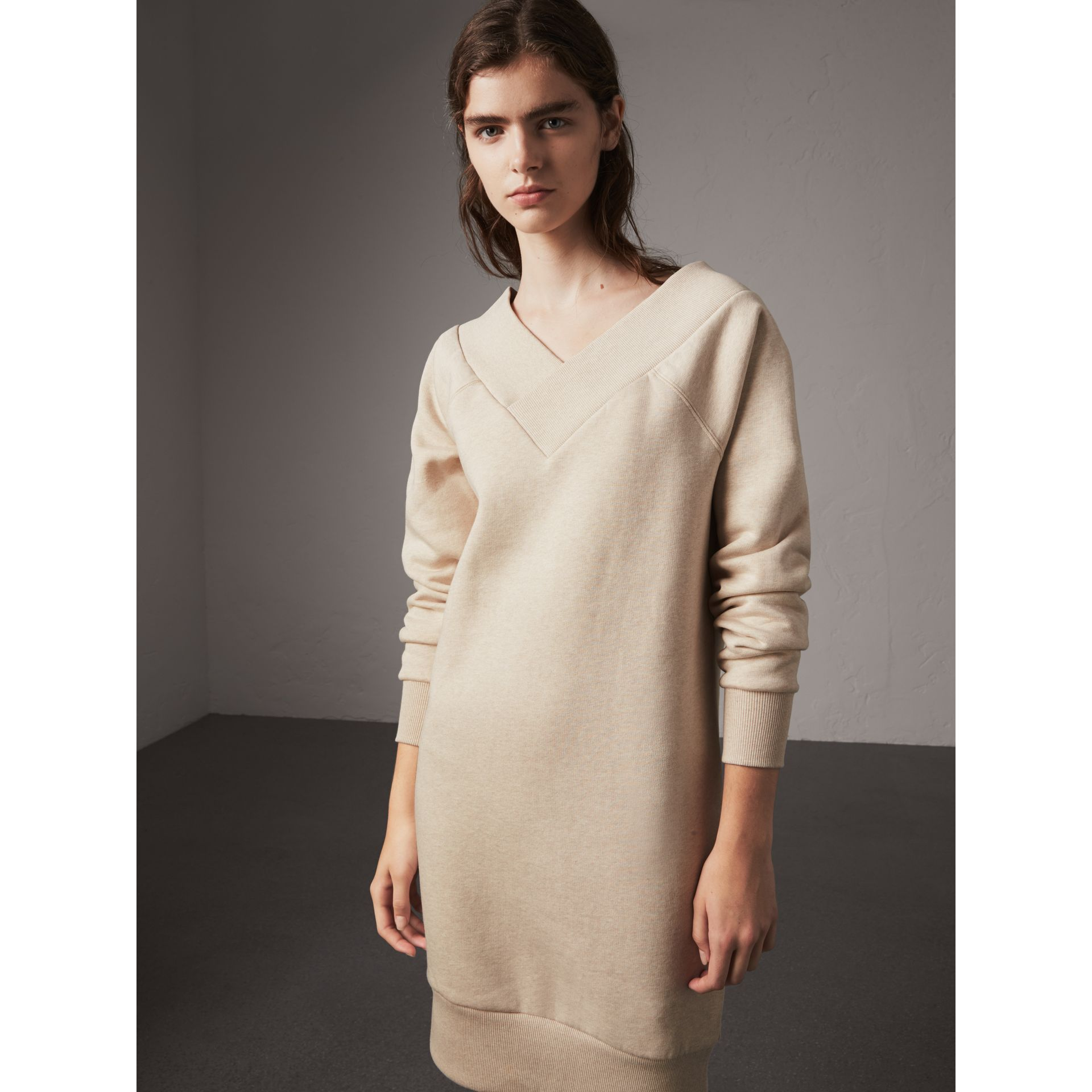 Cotton Blend V-neck Sweater Dress in Oatmeal Melange - Women | Burberry - gallery image 6