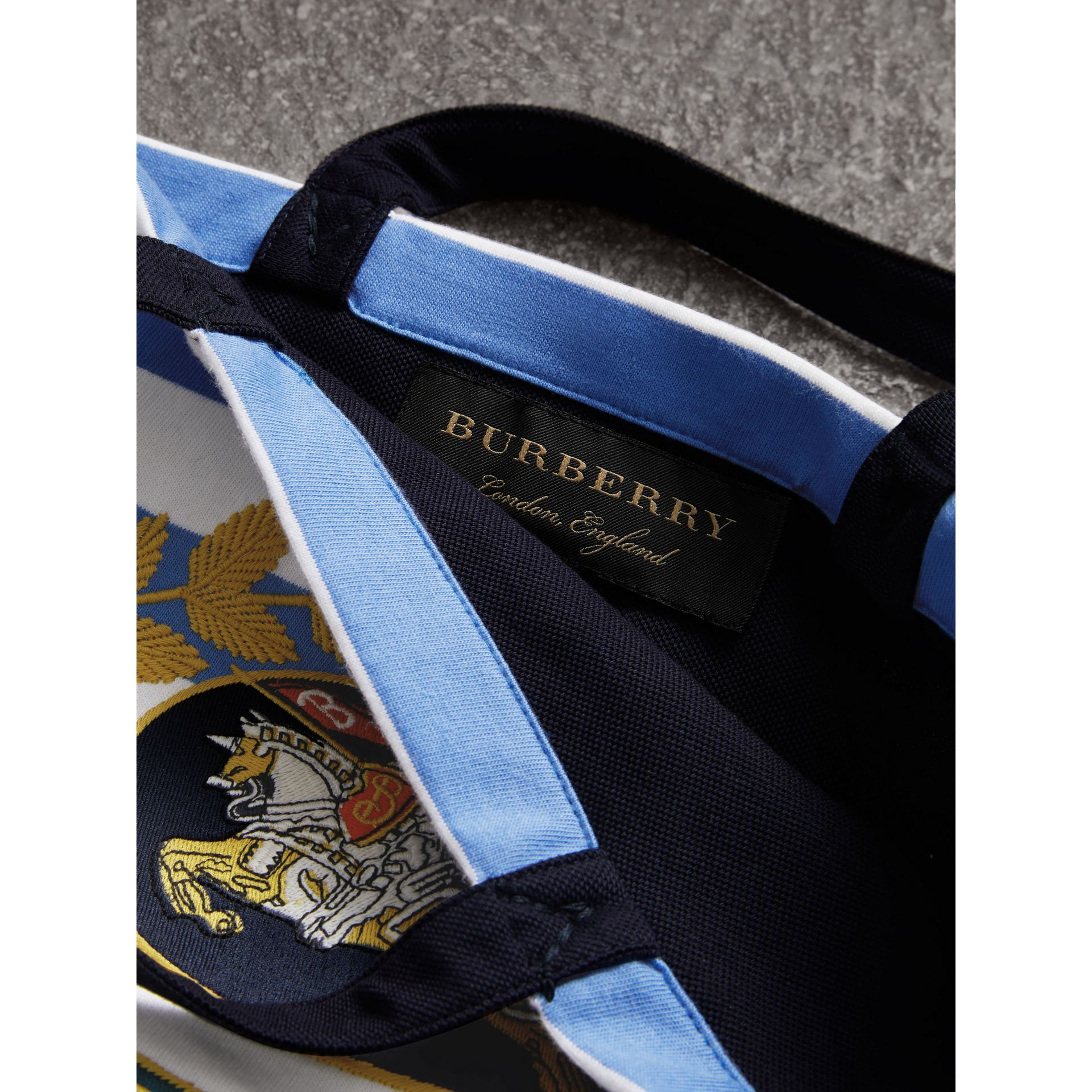 Archive Logo Striped Jersey Tote in Sky Blue/white | Burberry - gallery image 7