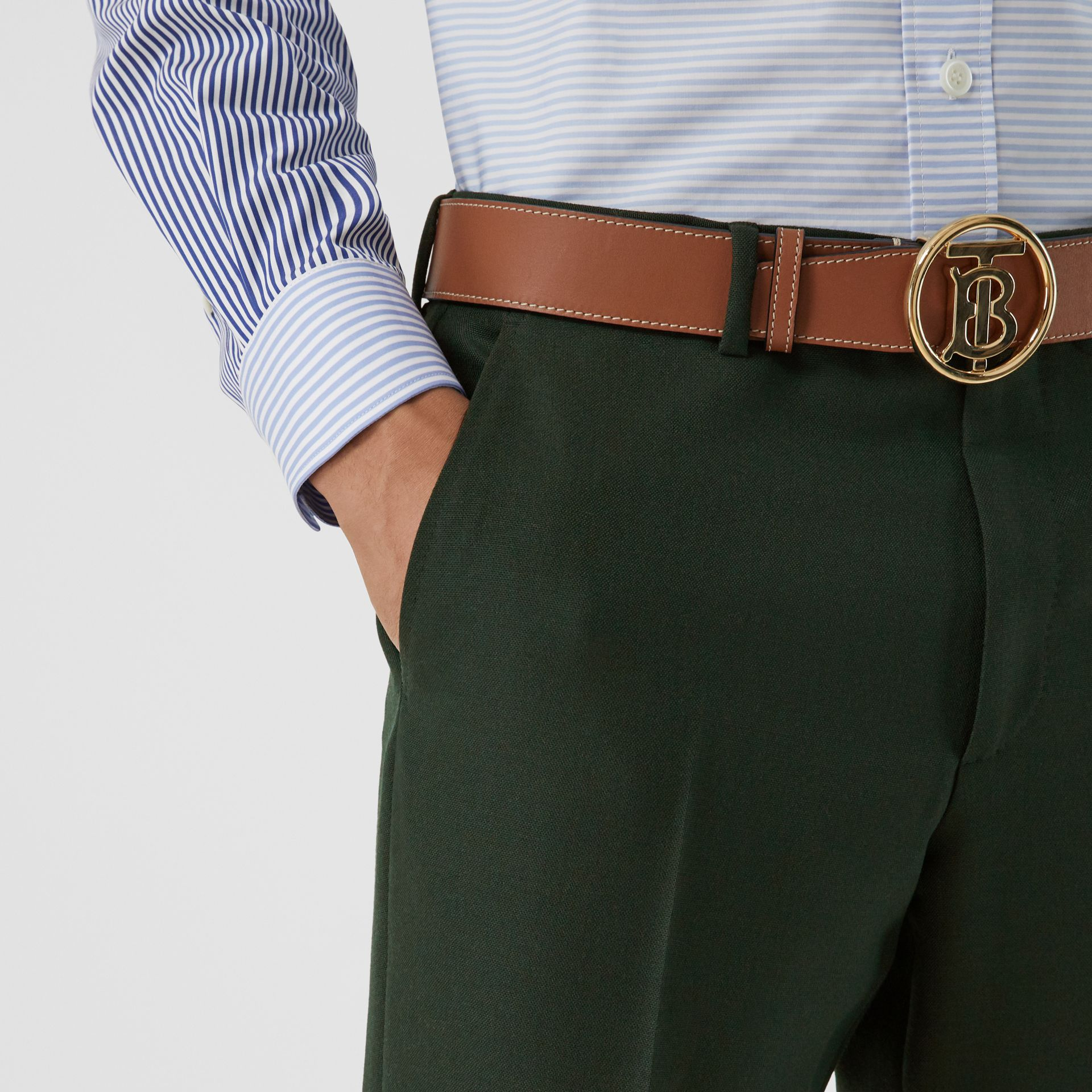 Classic Fit Wool Mohair Tailored Trousers in Dark Forest Green - Men | Burberry United Kingdom - gallery image 4
