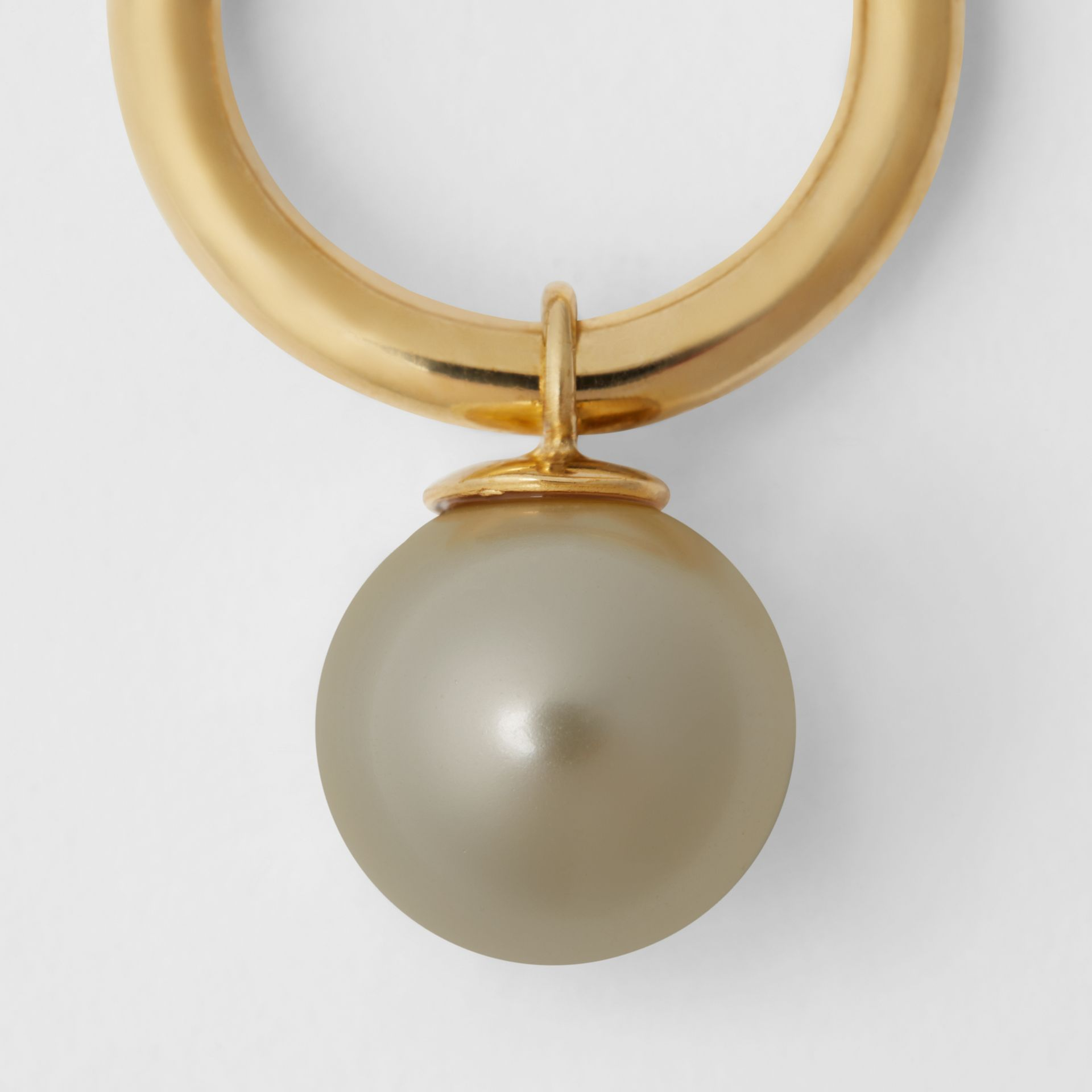 Faux Pearl Charm Gold-plated Ring in Light Gold/white - Women | Burberry - gallery image 1
