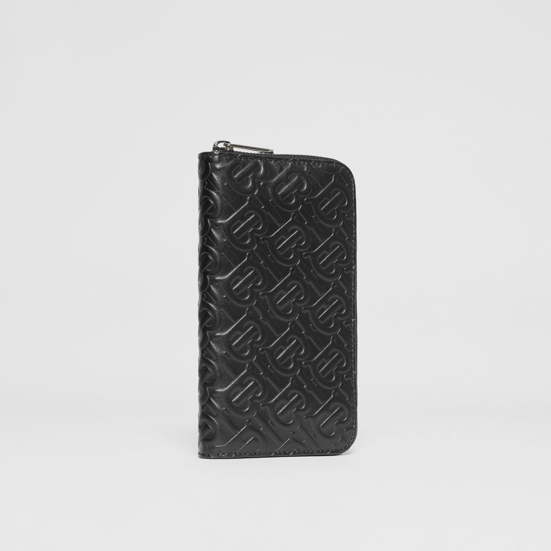 Monogram Leather Ziparound Wallet in Black - Men | Burberry - gallery image 3