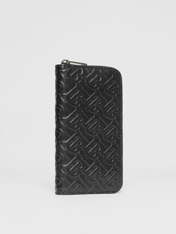 Monogram Leather Ziparound Wallet in Black - Men | Burberry - cell image 3