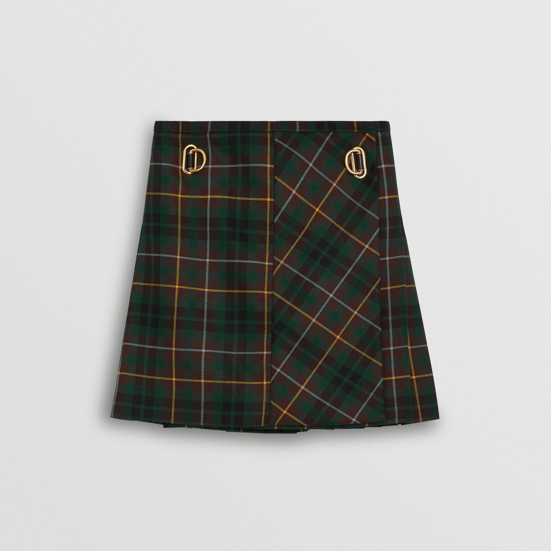 Tartan Wool Mini Kilt in Pine Green - Women | Burberry Canada - gallery image 3