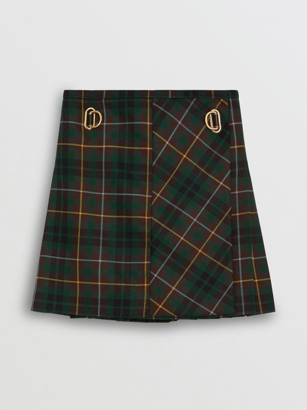 Tartan Wool Mini Kilt in Pine Green - Women | Burberry - cell image 2